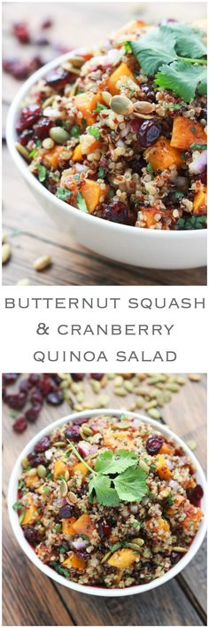 Butternut squash cranberry salad is the BEST fall salad! Made with butternut squash, cranberries, quinoa, pumpkin seeds and Balsamic Vinaigrette. Butternut Squash and Cranberry Quinoa Salad - Fall Recipes, Whole Food Recipes, Cooking Recipes, Cooking Tips, Soup Recipes, Apple Recipes, Brocolli Recipes, Zuchinni Recipes, Cooking Bacon