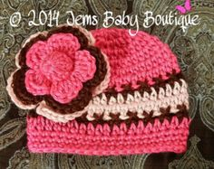 Hot Pink, Chocolate & Light Pink Baby girl Hat, Made to Order , Baby Girl  Hat with Flower,  Photo Prop Beanie