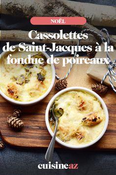 Une entrée chaude, facile à cuisiner pour Noël, avec ces cassolettes de Saint-Jacques à la fondue de poireaux. #recette#cuisine#cassolettes#saintjacques #entree #noel#fete#findannee #fetesdefindannee