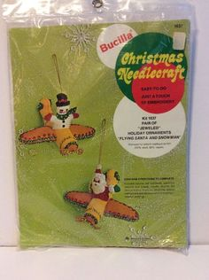 Bucilla Flying Santa Snowman Airplane Felt Ornaments Kit Vtg 1637 Sequin Bead  | eBay