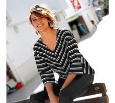Pruhovaná blúzka so rukávmi Leto, Tops, Women, Fashion, Elegance Fashion, Moda, Fashion Styles, Fashion Illustrations, Woman