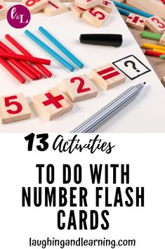 13 Activities To Do With Number Flash Cards! Plus FREE Printable! Here are 13 activities to extend math learning with number flash cards! Because the best way to use flash cards are as complements to engaging activities! Kindergarten Flash Cards, Math Flash Cards, Kindergarten Activities, Fun Math Activities, Printable Activities For Kids, Preschool Activities, Educational Activities, Numbers For Kids, Classroom Games