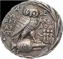 old Greek coin - the owl of the Goddess Athena, a coin of ancient Athens. Old Greek, Greek Art, Greek History, Ancient History, Coin Art, Gold And Silver Coins, Silver Cat, Antique Coins, Rare Coins