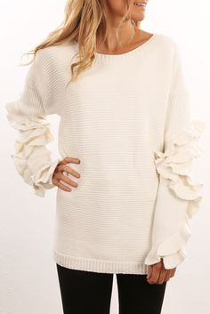 Hadid Frill Knit White