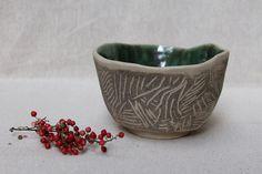 Handmade ceramic cup tea bowl white stoneware green by studiowetwo