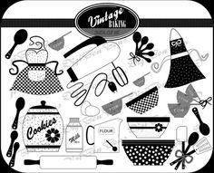 Vintage Baking Digital Clip Art in Black, White, & Gray. Cute, retro 50's kitchen clipart, clip art.. $4.50, via Etsy.