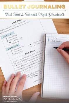 FREE Bullet Journal Downloads from Productivity Paradox. Bullet Journaling Cheat Sheet and Bullet Journal Calendar Pages in four color schemes to help you in your bullet journaling needs!