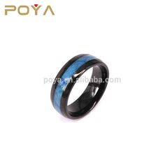 POYA Jewelry 8mm Men's Blue Carbon Fiber Inlay Black Tungsten Carbide Engagement Ring Wedding Band Dome Comfort Fit