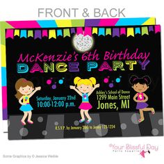 How cute are these Dance Party Invitations! Available in digital file or printed and shipped. So cute!