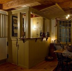 An early bar design.when bars really had bars that would be locked down when the bar closed. Custom Colonial Home Reproductions New England Homes, New Homes, Deco Champetre, Primitive Homes, Keeping Room, Tap Room, Country Decor, Country Homes, Bar Furniture