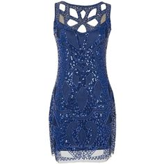 Emust Women's 1920s Gatsby Sequined Embellished Hollow Art Deco... (1.780 RUB) ❤ liked on Polyvore featuring dresses, 1920s dress, blue dress, gatsby cocktail dress, flapper cocktail dress and evening cocktail dresses