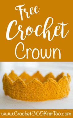 In a variety of sizes to fit all the queens and kings in your life! Make a crochet tiara for yourself or a friend! Crochet For Boys, Diy Crochet, Crochet Crafts, Crochet Baby, Crochet Projects, Diy Crafts, Crochet Toys, Crochet Crown Pattern, Crochet Patterns