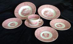 Vintage Royal Staffordshire Jenny Lind Pink Assorted Tableware Lot of 7 England…