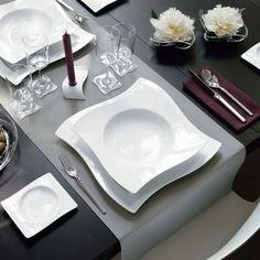 Assiette plate en porcelaine NEW WAVE de Villeroy & Boch. Cadeau de mariage.