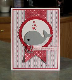 Valentines Day Card was made using the stamp set Oh, Whale by Stampin' Up and the coordinating Happy Whale Sizzix die. I also used Stampin' Up card stocks, Love Impressions designer paper, ink, a circle punch and a scallop circle die.