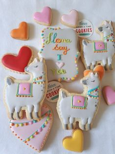 Llama cookies by Twice upon a Time Cookies . Valentines Day cookies . Fiesta.