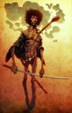 Jimi Hendrix as Afro Samurai, by Brent McKee. Afro Samurai, Samurai Art, Jimi Hendrix, Tatoo Manga, Samurai Champloo, Black Anime Characters, Black Cartoon, Hip Hop Art, The Villain