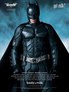 I have a sneaking suspicion that this is about to pop up all over the interwebs: Christian Bale as Batman in a Body by Milk ad. The Dark Knight Trilogy, The Dark Knight Rises, Batman The Dark Knight, Batman Pictures, Batman Christian Bale, Dark Knight Costume, Got Milk Ads, Nananana Batman, Movies