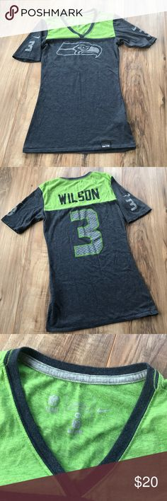Nike Seahawks nfl Wilson v neck t shirt Excellent condition  No holes, stains or piling  Check out my closet!  Bundle & Save! 💸  I 🖤 Reasonable offers! WANT FREE SHIPPING?!  Make a BUNDLE of two  or more items over $75 and I'll send you an offer WITH free shipping AND  a discount on your bundle Nike Tops Tees - Short Sleeve