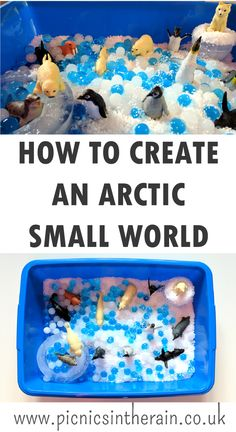 Create an arctic small world using ice, instant snow, water beads and polar animals. Snow Theme, Winter Theme, Toddler Learning, Toddler Preschool, Pre-k Resources, Instant Snow, Polar Animals, Water Beads, Learning Through Play