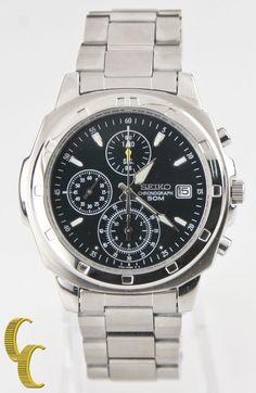 Seiko Men's Stainless Steel Chronograph Green Dial Quartz Watch w/ Box SND411P1 #Seiko #Casual