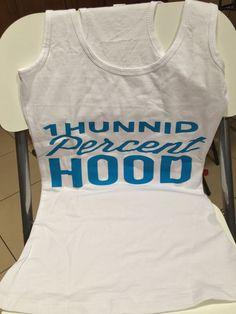 Look what we have in stock !!! White & Blue 1Hun... visit http://100percenthood.biz/products/1hunnid-percent-hood-logo-racerback?utm_campaign=social_autopilot&utm_source=pin&utm_medium=pin