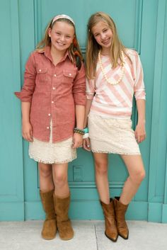 Shirt, skirt boots Fall Fashion for Tweens - Adorable Look (budding cowgirls) Preteen Fashion, Teen Girl Fashion, Little Girl Fashion, Fashion 101, Cute Fashion, Look Fashion, Kids Fashion, Autumn Fashion, Fashion Trends