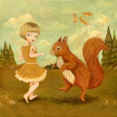 Come Dance with Me, said the Red Squirrel - Print, Nursery Art, Children's Art, Forest, Acorn, Primrose Yellow, Burnt Orange, Cute, Kids