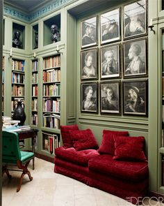 Traditional home Library with medium Jade Green walls and Garnet red couch . Red Couch Living Room, Sage Green Walls, Decoration Inspiration, Workspace Inspiration, Color Inspiration, Red Sofa, Red Couches, Red Velvet Sofa, Home Libraries