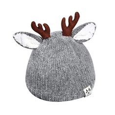 a761b9b2559 Cute Deer Antlers Baby Beanie Soft Warm Crochet Knitted Hat for Toddler  Girls Boys Reindeer Antlers