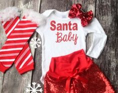 Baby Girl Clothes, Baby Christmas Outfit, Santa Baby, Christmas Leg Warmers, Glitter Shirt