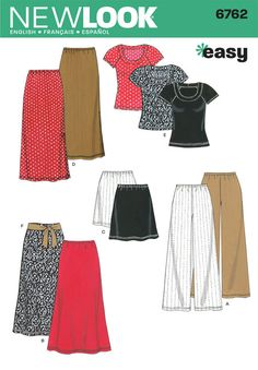 New Look Sewing Pattern 6762 Misses Separates, Size A (XS-S-M-L-XL): Misses Knit Pants, Skirt and Top sewing pattern. New Look pattern part of New Look Winter 2007 Collection. Pattern for 6 looks. For sizes A (XS-S-M-L-XL). Skirt Patterns Sewing, Free Sewing, Vintage Sewing Patterns, Clothing Patterns, Simplicity Sewing Patterns, Sewing Class, Sewing Basics, Sewing For Beginners, Basic Sewing