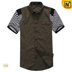 Mens Designer Original Slim Short Sleeve Shirts CW100315 Dark Olive $108.67 - www.cwmalls.com