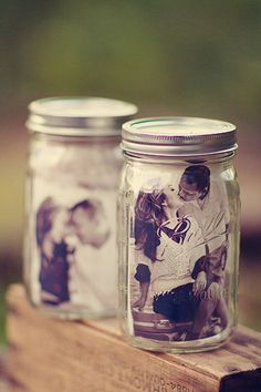 These mason jar photo frames are just one of the cute DIY touches in this mountain wedding.