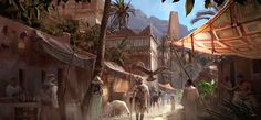 View an image titled 'Life in Siwa Art' in our Assassin's Creed Origins art gallery featuring official character designs, concept art, and promo pictures. Fantasy City, Fantasy Places, Fantasy World, Egypt Concept Art, Concept Art World, Environment Concept, Environment Design, Fantasy Background, Background Images