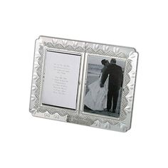 """Crystal Frame  Crystal wedding announcement frame. Brides will love this frame, the perfect place for her photo and her invitation. Each side fits 4"""" x 6"""" size. The packaging is a beautiful white gift box with an embossed seahorse."""