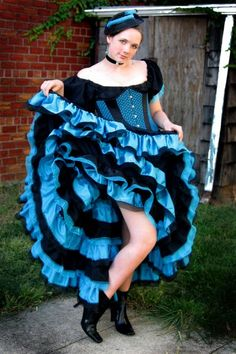 Turquoise/Black Can Can Costume