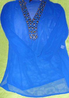 Royal Blue Beaded Chiffon Tunic Top - Beaded Chiffon Tunic Top in Royal Blue color.