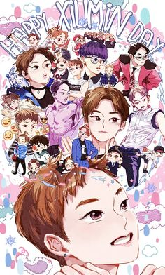 Image about exo in art//drawing//anime by 판타지 몽상가 Exo Xiumin, Kpop Exo, Exo Kai, Exo Birthdays, Exo Cartoon, Kpop Anime, Exo Fan Art, Xiuchen, Fanarts Anime