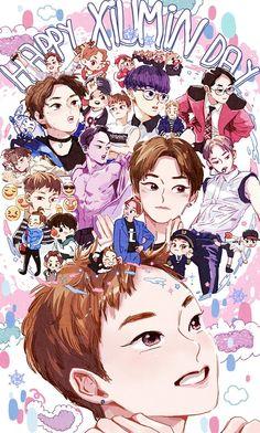 Image about exo in art//drawing//anime by 판타지 몽상가 Exo Xiumin, Kpop Exo, Exo Kai, Chanbaek, Exo Birthdays, Kpop Anime, Exo Fan Art, Xiuchen, Kim Minseok