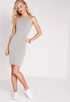Get back to basics with this jersey bodycon dress! With a racer style to the top and in a sexy shade of grey, we're goin' cray' for this beaut! every Missguided girl needs a basic mini dress in her collection! Team up with a denim jacket an...
