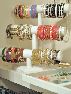 "Organized ""Boutique"" Closet // Honey We're Home, Bracelet Organizer . This is the ultimate bracelets organizer ! Bracelet Storage, Bracelet Organizer, Bracelet Holders, Necklace Storage, Necklace Holder, Jewelry Stand, Jewelry Holder, Jewelry Box, Hanging Jewelry"