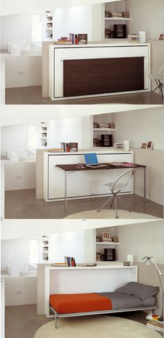 "The Poppi Desk is a space saving modern ""murphy bed"" that features a fold down desk. Poppi Desk is available in a twin size or an double size wall bed."