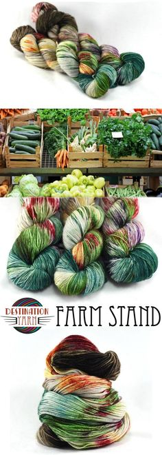 Grey/browns of the stand combine with deep greens and pops of eggplant, tomato, carrot, and kale. Hand-dyed, sock/fingering weight yarn for knitting, crochet, and crafts.