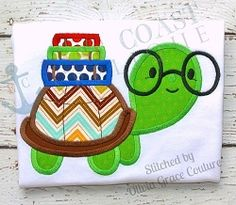 Turtle Scholar Applique - 4 Sizes! | What's New | Machine Embroidery Designs | SWAKembroidery.com East Coast Applique