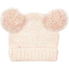 River Island Girls pink double pom beanie hat ($5.93) ❤ liked on Polyvore featuring babies, baby clothes, kids and sale