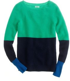 Cashmere Waffle Colorblock Sweater - Lyst