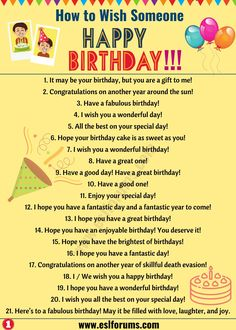 Birthday Wishes: Best Happy Birthday Wishes to Friends & Others! - ESL Forums Birthday Wishes: Best Happy Birthday Wishes to Friends & Others! English Sentences, English Vocabulary Words, Learn English Words, English Phrases, English Idioms, English Lessons, Slang English, English Fun, English Learning Spoken