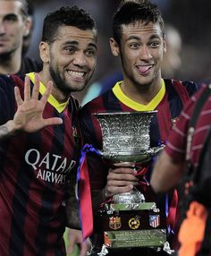 Dani and Neymar with the supa copa trophy <3 <3 <3
