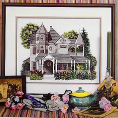 A large and detailed picture of a Victorian house in Bedford, Ohio with lots of contrasting light and shade.